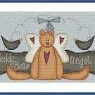 Cross-Stitch Embroidery Color Pattern DMC thread codes- Teddy Bear Angel