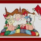 Cross-Stitch Embroidery Color Pattern with DMC thread codes- Wake up Santa!