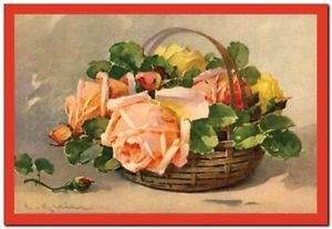 Beautiful Vintage Decor Collectible Kitchen Fridge Magnet - Rose Bouquet