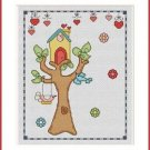 Cross-Stitch Embroidery Color Pattern with DMC codes - Summer Birdhouse #5