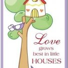 Beautiful Cute Decor Collectible Kitchen Fridge Magnet - Birdhouse & Birdies #4