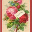 Primitive Country Folk Art Kitchen Refrigerator Magnet - Red Victorian Roses