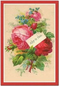 Primitive Country Folk Art Kitchen Refrigerator Magnet - Red Victorian Roses