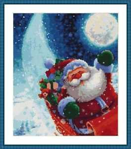 Cross-Stitch Embroidery Color Pattern with DMC thread codes - Happy Santa