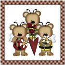 Beautiful Cute Decor Collectible Kitchen Fridge Magnet - Angel Bear Family #2