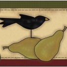 Primitive Country Folk Art Kitchen Refrigerator Magnet - Prim Crow with Pears