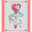 Cross-Stitch Embroidery Color Pattern with DMC codes - Cute Love Kitten #3