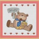 Cross-Stitch Embroidery Color Pattern with DMC codes - Smiling Teddy Bear