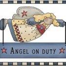 Primitive Country Folk Art Kitchen Refrigerator Magnet - Prim Angel on Duty