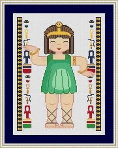 Cross-Stitch Embroidery Color Pattern with DMC codes - Little Egypt Girl