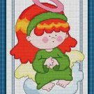 Cross-Stitch Embroidery Color Pattern with DMC codes - Cute Redhead Angel