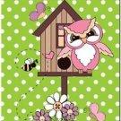 Beautiful Fun Decor Design Collectible Kitchen Fridge Magnet - Owl & Birdhouse
