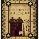 Primitive Country Folk Art Kitchen Refrigerator Magnet - Prim Faith Hope Love