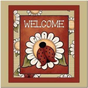 Primitive Country Folk Art Kitchen Refrigerator Magnet - Cute Ladybug Welcome