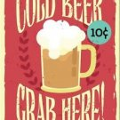 Beautiful Retro Decor Collectible Kitchen Fridge Magnet - Cold Beer ~ Grab Here