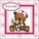 Primitive Country Folk Art Kitchen Refrigerator Magnet - Welcome Teddy Bear Girl