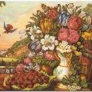 Primitive Country Folk Art Kitchen Refrigerator Magnet - Flowers & Fruit