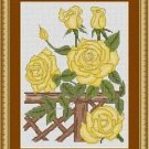 Cross-Stitch Embroidery Color Pattern with DMC codes -Yellow Roses
