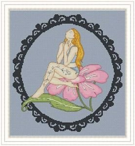 Cross-Stitch Embroidery Color Digital Pattern w. DMC codes - Flower Fairy