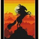 Cross-Stitch Embroidery Color Pattern with DMC thread codes - Sunset Stallion