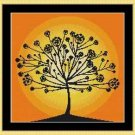 Cross-Stitch Embroidery Color Pattern with DMC thread codes - Tree Silhouette