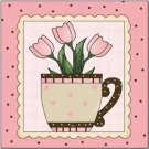Primitive Country Folk Art Kitchen Refrigerator Magnet - A Cup of Flower #4