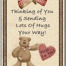 Primitive Country Folk Art Kitchen Refrigerator Magnet - Teddy Bear Thoughts #6