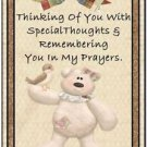 Primitive Country Folk Art Kitchen Refrigerator Magnet - Teddy Bear Thoughts #12