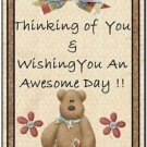 Primitive Country Folk Art Kitchen Refrigerator Magnet - Teddy Bear Thoughts #7