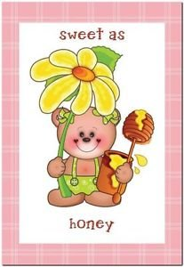 Beautiful Cute Decor Design Collectible Kitchen Fridge Magnet -Flower Teddy Bear