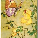 Beautiful Vintage Decor Collectible Kitchen Fridge Magnet - Rose and Butterfly