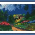 Cross-Stitch Embroidery Color Pattern with DMC thread codes -House in the Valley