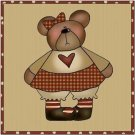 Primitive Country Folk Art Kitchen Refrigerator Magnet - Prim Teddy Bear Girl #2