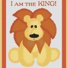 Cross-Stitch Embroidery Color Pattern with DMC codes - I am the KING! Cute Lion