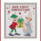 Cross-Stitch Embroidery Color Pattern with DMC thread codes -Our First Christmas