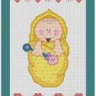Cross-Stitch Embroidery Color Pattern with DMC codes -  Baby Pattern #3