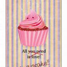 Primitive Country Folk Art Kitchen Refrigerator Magnet -All You need's a cupcake