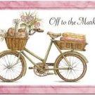 Primitive Country Folk Art Kitchen Refrigerator Magnet - Romantic Girl's Bike