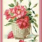 Primitive Country Folk Art Kitchen Refrigerator Magnet - Victorian Rose Basket