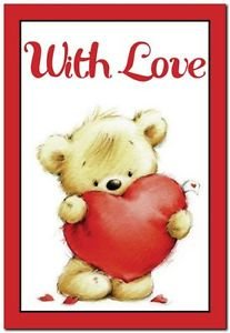 Cute Valentine's Day Love Kitchen Refrigerator Magnet - Teddy Bear with Heart #2