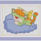 Cross-Stitch Color Embroidery Pattern with DMC codes - Little Kitten Angel #3