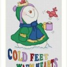 Cross-Stitch Embroidery Color Pattern with DMC codes - Cold Feet - Warm Hearts