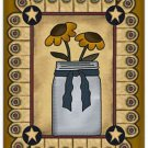 Primitive Country Folk Art Kitchen Refrigerator Magnet - Prim Country Sunflowers