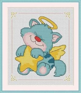 Cross-Stitch Color Embroidery Pattern with DMC codes - Little Kitten Angel
