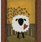 Primitive Country Folk Art Kitchen Refrigerator Magnet - Prim Country Sheep #1