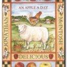 Primitive Country Folk Art Kitchen Refrigerator Magnet -Vintage Apple Label