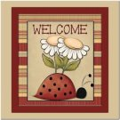 Primitive Country Folk Art Kitchen Refrigerator Magnet - Cute Ladybug Welcome #2