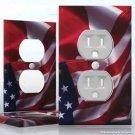 1 GANG WALL SOCKET DUPLEX RECEPTACLE Cover Vinyl Sticker Decal - USA Canada Flag