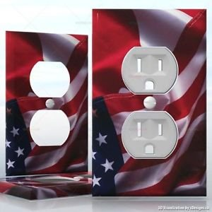 1 GANG WALL SOCKET DUPLEX RECEPTACLE Cover Vinyl Sticker Decal - USA Canada Flag
