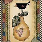 Primitive Country Folk Art Kitchen Refrigerator Magnet - Raggedy Crow & Pear